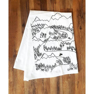 Corvidae Tea Towels River Boats And Mountains - Zest Billings, LLC