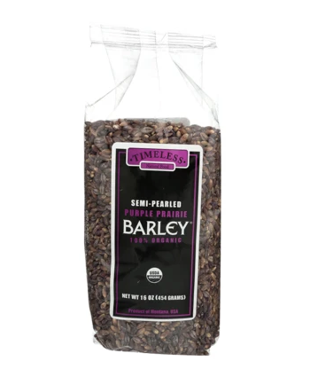 Timeless Foods Semi-Pearled Purple Prairie Barley, 16oz
