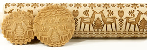 "Pottery Avenue 10"" Embossing Rolling Pin Deer Christmas"