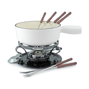 SwissMar Fondue Set - Cast Iron White Lugano - Zest Billings, LLC