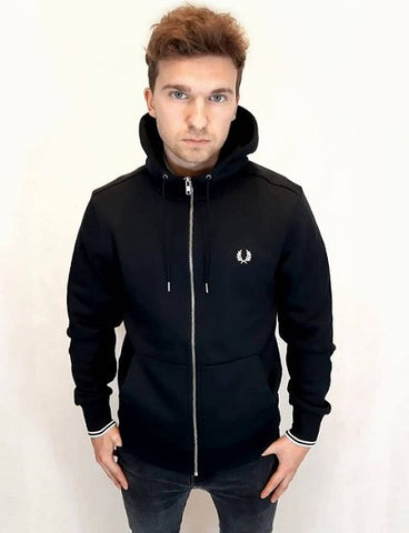 Fred perry HOODED ZIP THROUGH SWEATSHIRT J7536 198 Black