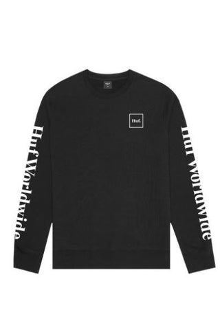 HUF ESSENTIALS DOMESTIC CREW PF00264 BLACK