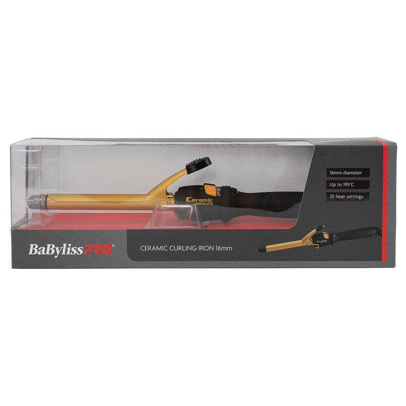 BaByliss PRO Ceramic Gold Curling Iron - 16mm