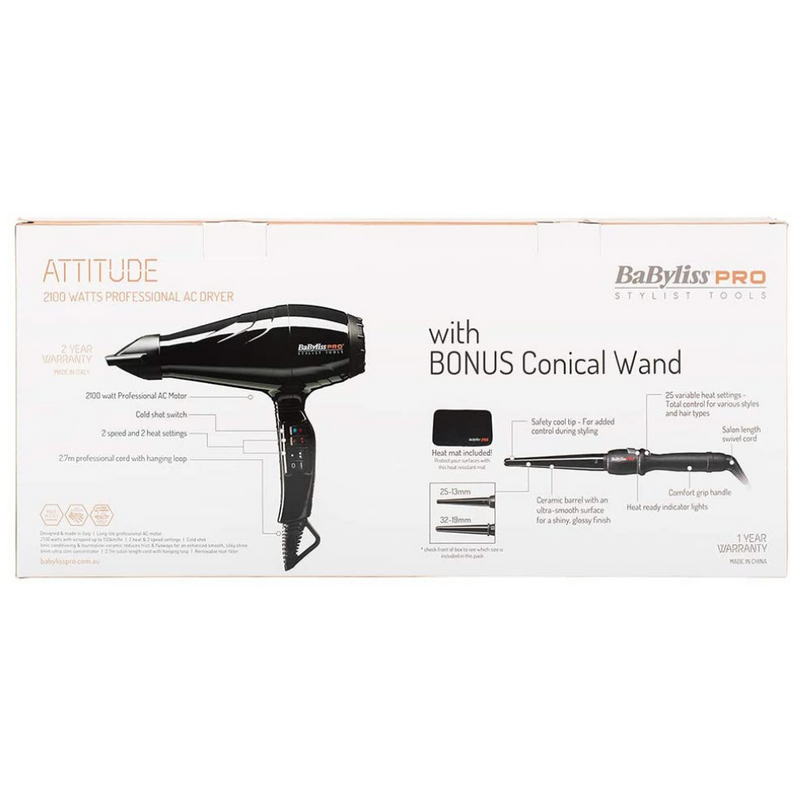BaBylissPRO Attitude Hair Dryer + Ceramic Black Conical Wand 32-19mm Package back