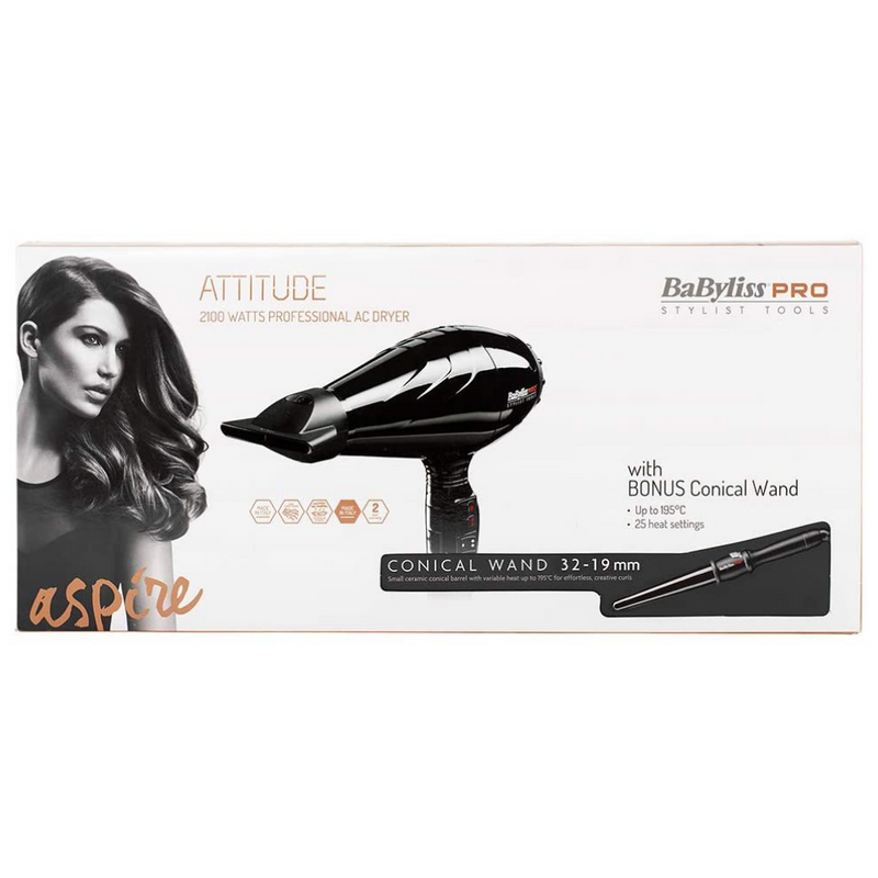 BaBylissPRO Attitude Hair Dryer + Ceramic Black Conical Wand 32-19mm Package