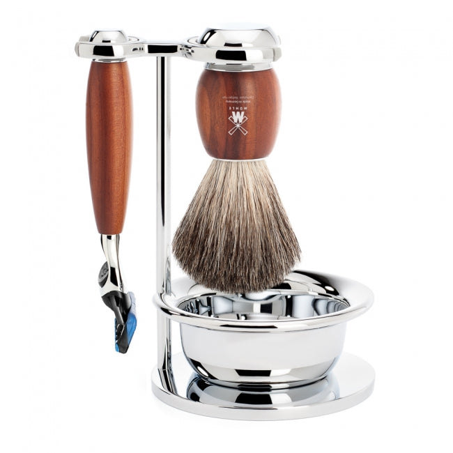 Muhle Vivo, Plum Wood 4-Piece Pure Badger Gillette Fusion Shaving Set