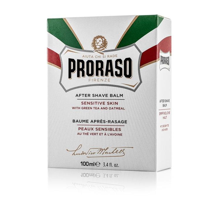 Proraso Aftershave Balm Sensitive with Oatmeal and Green Tea 100ml - White
