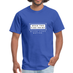 "Load image into Gallery viewer, theblackjunction ""Fine Print"" (Tee) - royal blue"