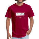 "Load image into Gallery viewer, theblackjunction ""Fine Print"" (Tee) - dark red"