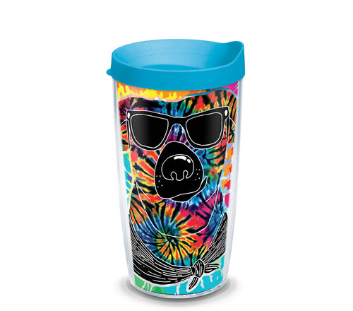 Tie Dye Dog with Sunglasses 16 oz. Tumbler with turquoise lid-LauraLouCrafted
