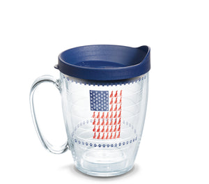 Dog Flag 16 oz. Coffee Mug with navy lid-LauraLouCrafted