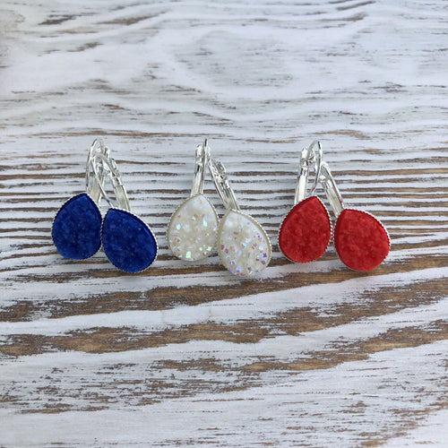 Patriotic 4th of July, Red, White + Blue Druzy Dangly Teardrop-LauraLouCrafted