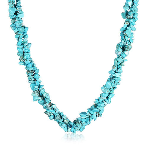 Turquoise Natural Stone Necklace in 18K White Gold Plated-LauraLouCrafted