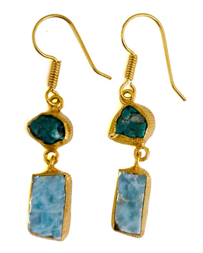 Shalini Turquoise + Larimar Earrings-LauraLouCrafted