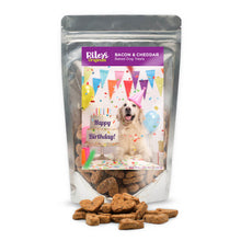 "Load image into Gallery viewer, Riley's Originals ""Birthday"" Grain-Free Baked Bacon & Cheddar Dog Treats 5oz-LauraLouCrafted"