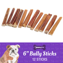 "Load image into Gallery viewer, PawsGive 6"" Bully Sticks for Dogs from Grass Fed Free Range Cattle-LauraLouCrafted"