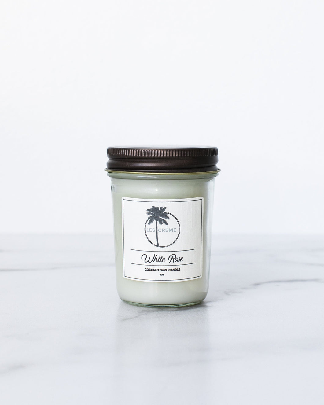 White Rose Scent Coconut Wax Candle-LauraLouCrafted