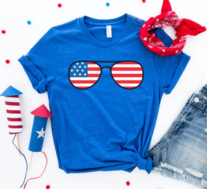 4th Of July Sunglasses T-shirt-LauraLouCrafted