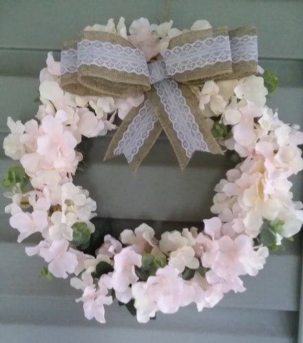 Pink Hydrangea wreath-LauraLouCrafted