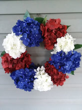Load image into Gallery viewer, Patriotic Hydrangea Wreath | Red White and Blue-LauraLouCrafted