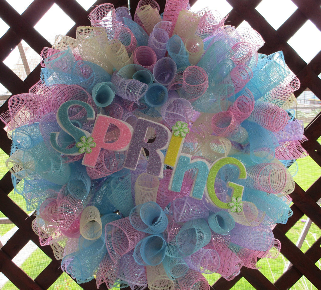 Spring rainbow wreath-LauraLouCrafted