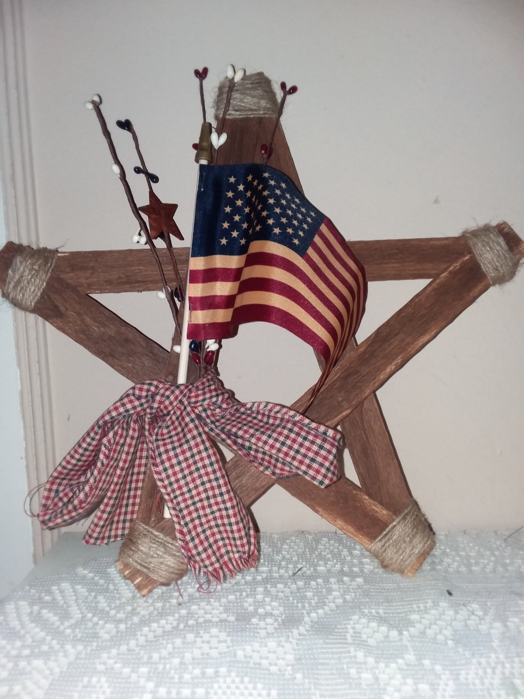 Rustic wood patriotic star decor-LauraLouCrafted
