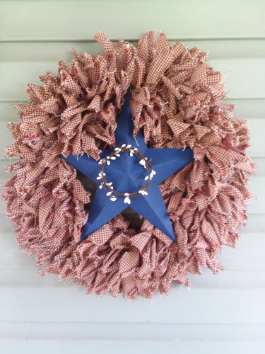 Patriotic primitive americana rag wreath with star-LauraLouCrafted