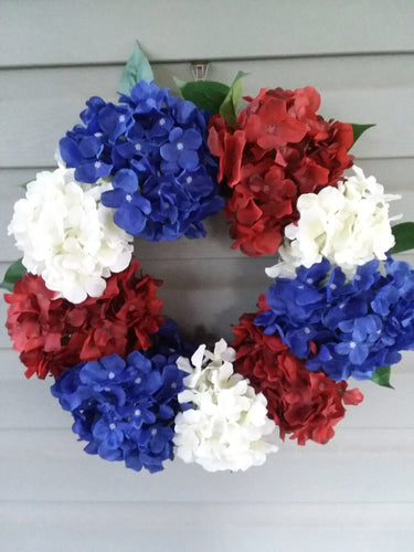 Patriotic Hydrangea Wreath | Red White and Blue-LauraLouCrafted