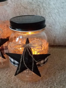 Primitive buffalo check mason jar luminaries, set of two, Night Light-LauraLouCrafted