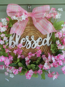 Pink floral blessed charger wreath-LauraLouCrafted