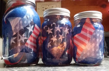 "Load image into Gallery viewer, Patriotic ""patchwork"" mason jar luminaries, set of three-LauraLouCrafted"