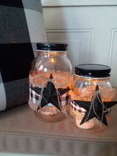 Load image into Gallery viewer, Primitive buffalo check mason jar luminaries, set of two, Night Light-LauraLouCrafted