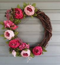 Load image into Gallery viewer, Pink Peony Grapevine Wreath-LauraLouCrafted