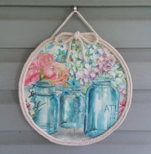 Load image into Gallery viewer, Mason jar floral door hanger-LauraLouCrafted