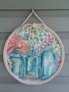 Mason jar floral door hanger-LauraLouCrafted