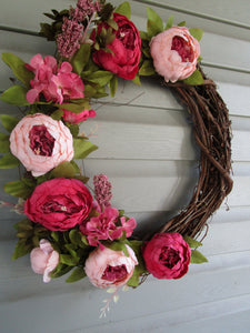 Pink Peony Grapevine Wreath-LauraLouCrafted