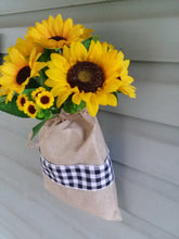 Load image into Gallery viewer, Sunflower burlap door hanger-LauraLouCrafted