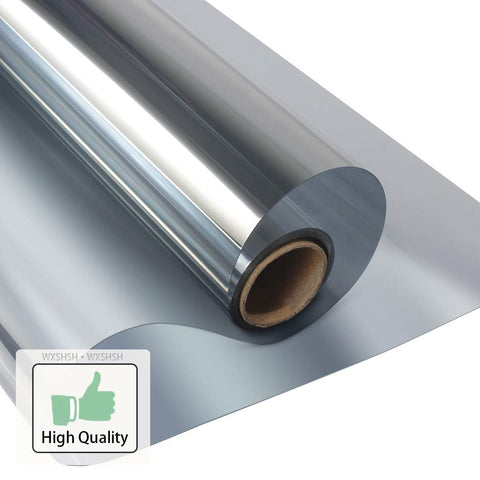 A roll of silver window insulation film