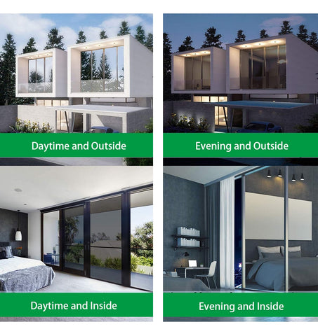 Descriptions of how the window looks night and day with window insulation film