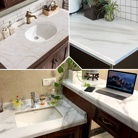 White and gray contact paper in the bathroom