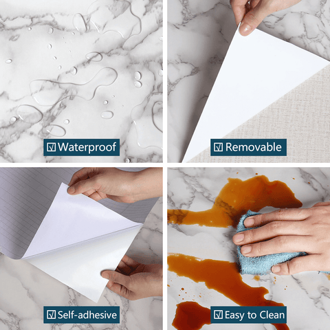 Waterproof qualities of white and gray marble contact paper