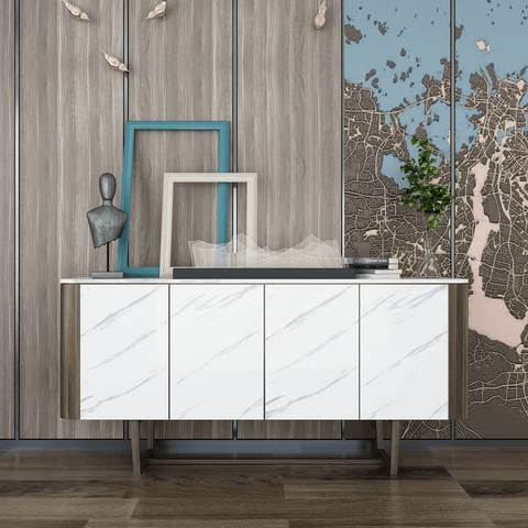 White and gray marble contact paper decorates living room cabinet