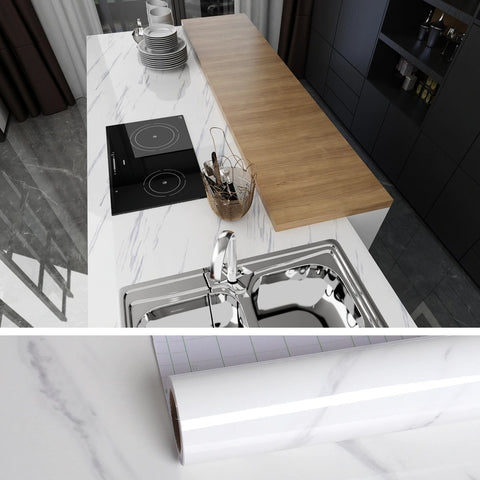 White and gray marble contact paper on the kitchen counter