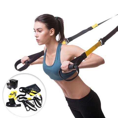 Woman demonstrating yellow suspension trainer