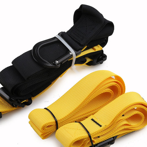 Yellow and black suspension training straps