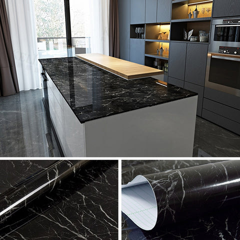 Black marble contact paper in the kitchen