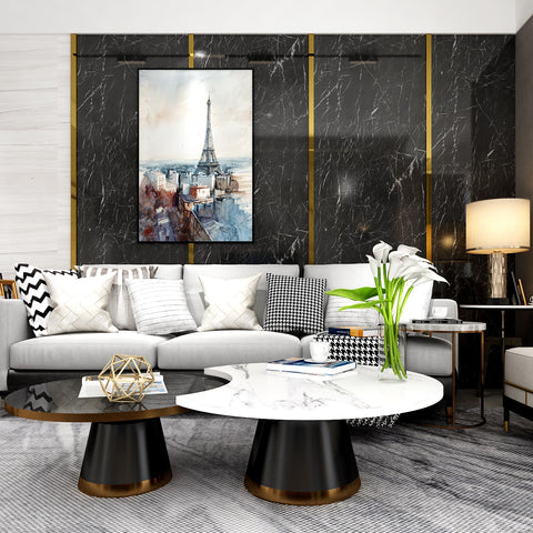 White and gray marble contact paper in the living room