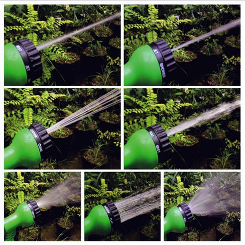 The 7 mode settings for the expandable garden hose