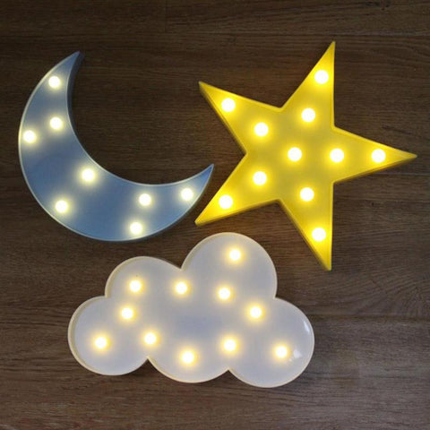 Moon and star shaped night lights for kids in gray and yellow