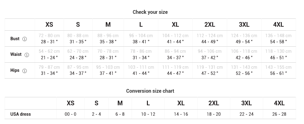 Bodycon dress size chart